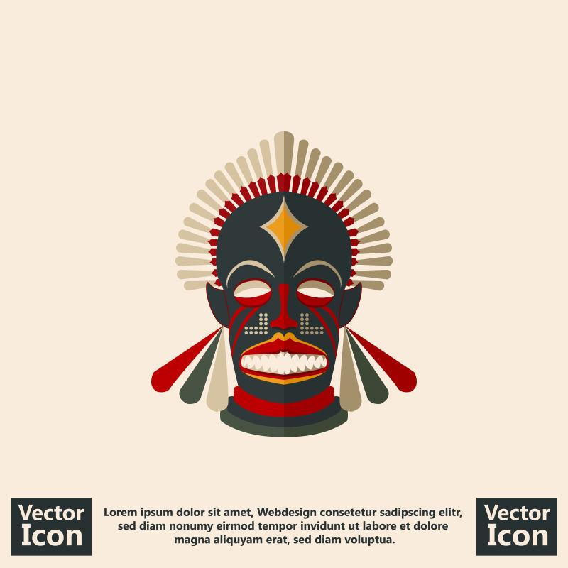 抽象矢量印第安风格的面具设计