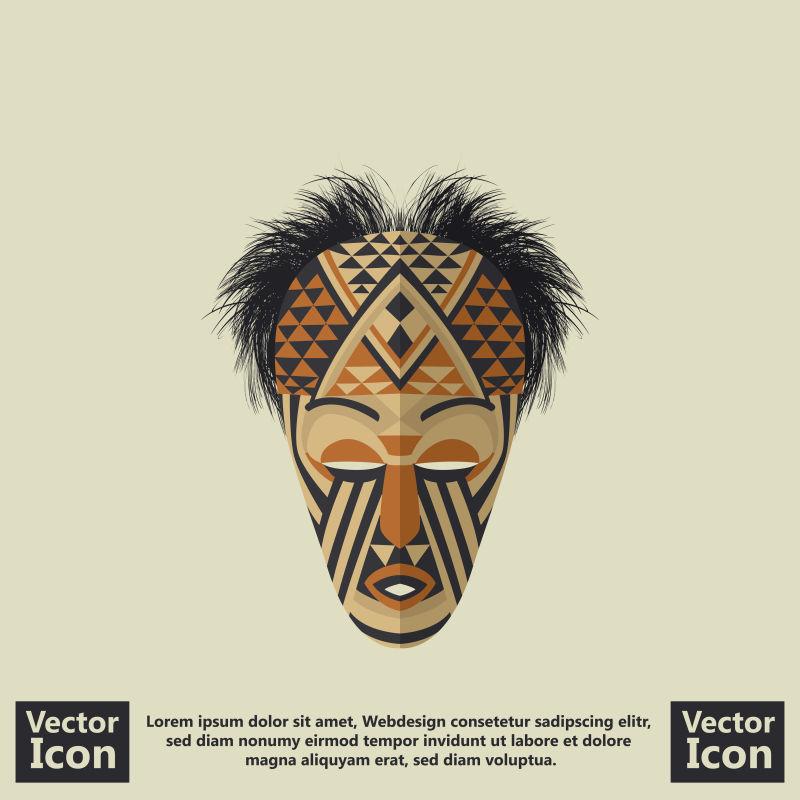 抽象矢量印第安风格的面具设计插图