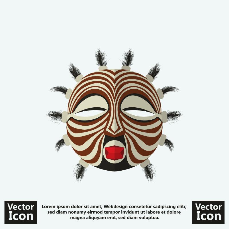 抽象矢量现代装饰风格的部落面具设计