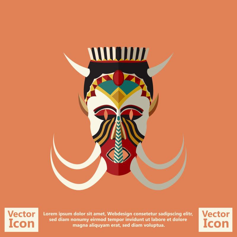 矢量抽象装饰风格的民族面具设计