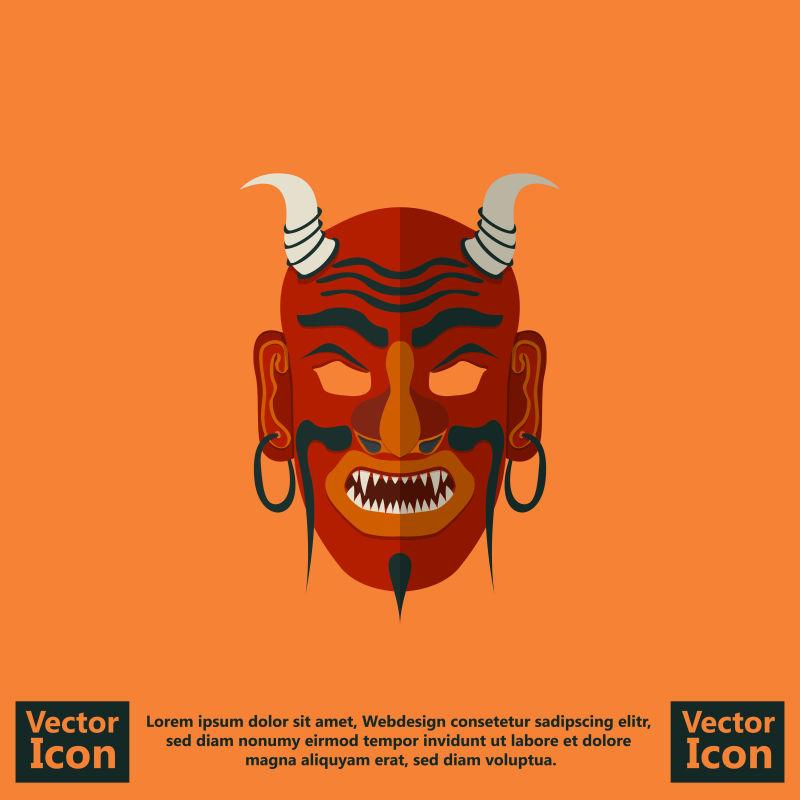 矢量红色有恶魔角的部落面具设计