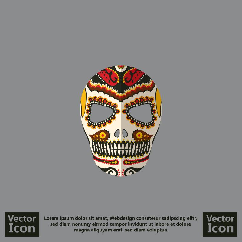 抽象矢量墨西哥风格的部落面具