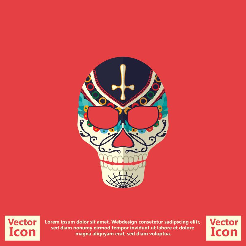 抽象矢量复古墨西哥风格的面具设计