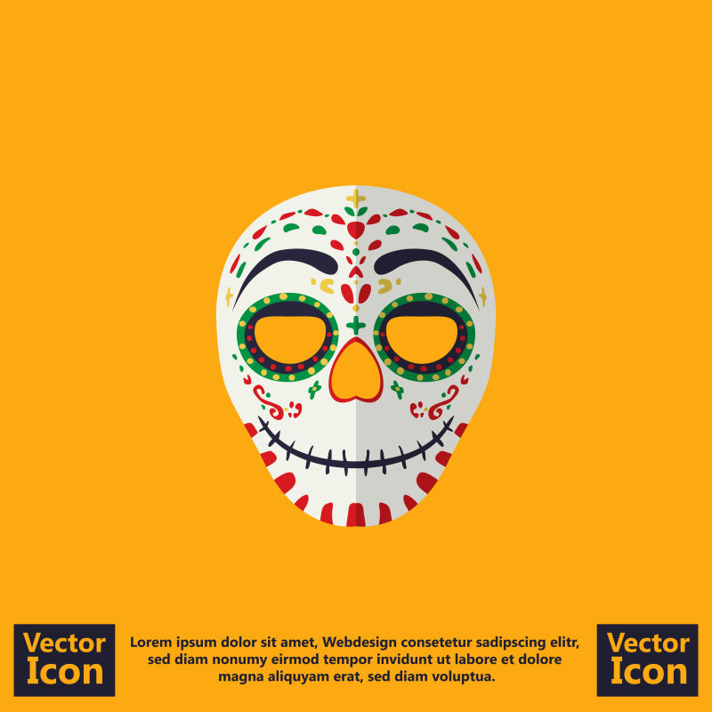 抽象矢量装饰风格的民族面具设计