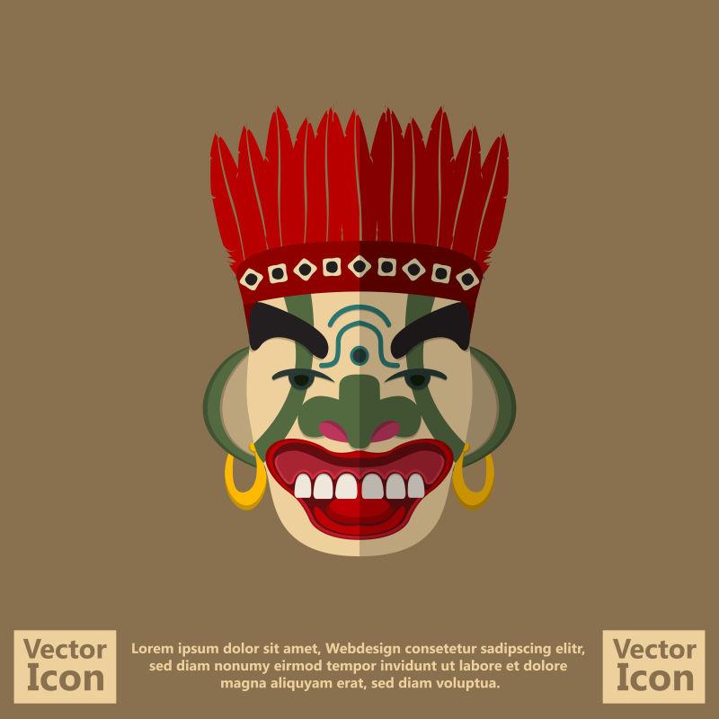 抽象矢量部落风格的面具插图设计