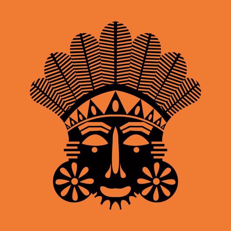 抽象矢量现代民族部落风格的面具设计