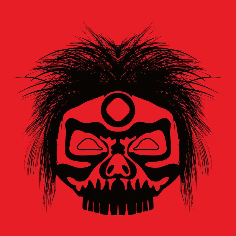 抽象矢量凶狠的民族面具设计