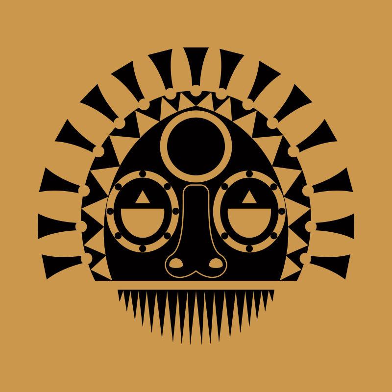 矢量现代部落风格的民族面具设计