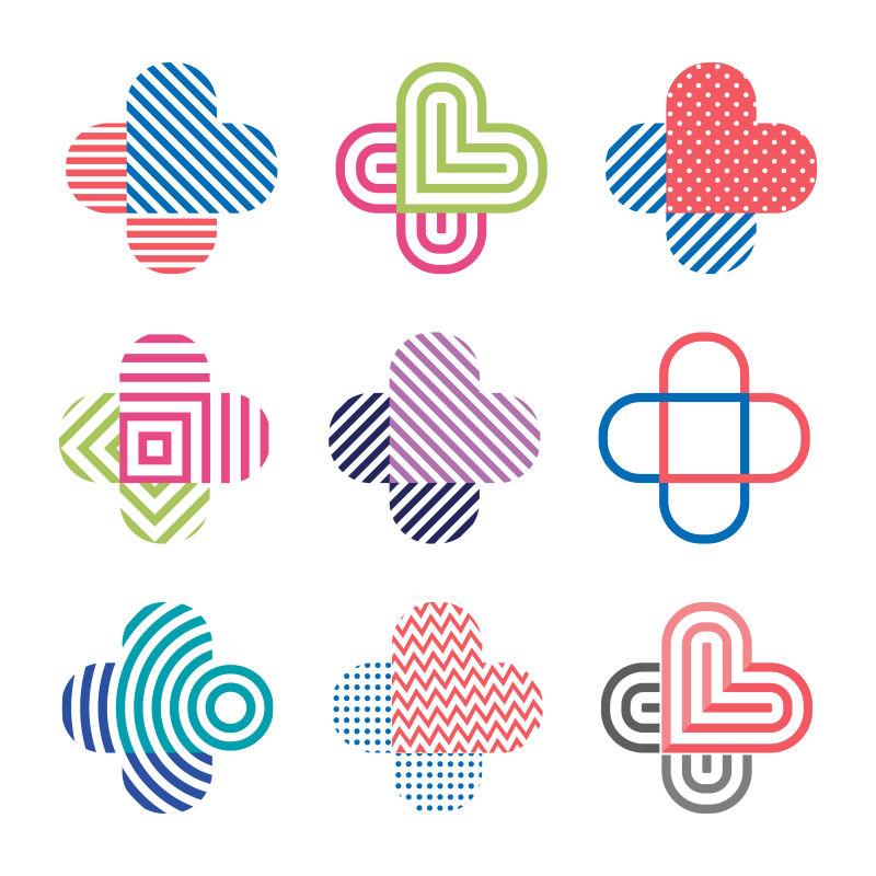 矢量装饰孤立的标志十字交叉抽象的设计元素