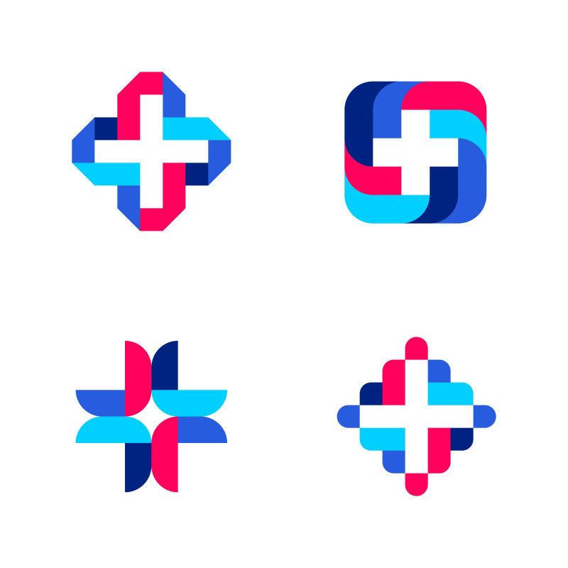 五彩缤纷的十字架医学标识标志模板或图标