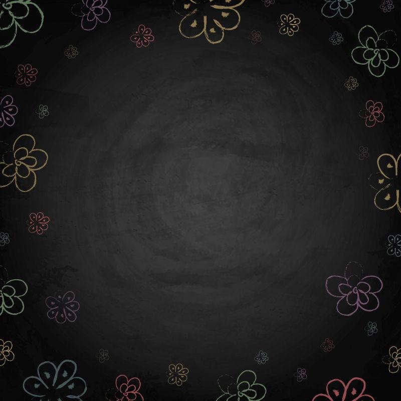 黑板黑板上的手绘花