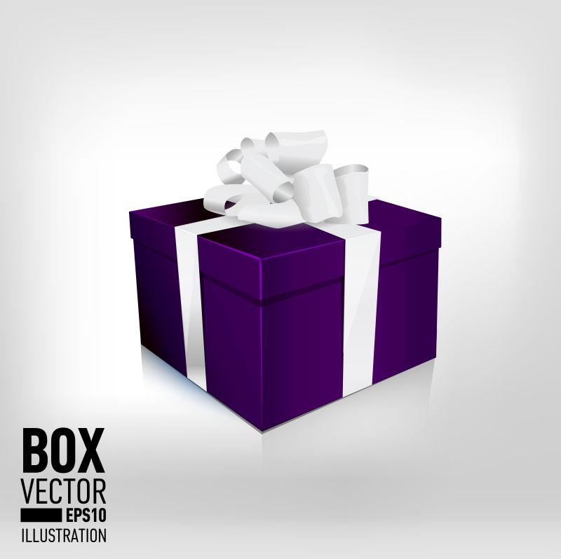 单一包装中紫色礼品盒与缎白色蝴蝶结和缎带隔离白色背景