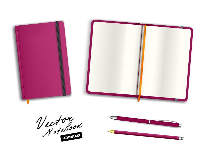 空白紫色打开和关闭的字帖模板,带松紧带和书签。写实文具空白钢笔和铅笔。白色背景下的笔记本矢量插图。