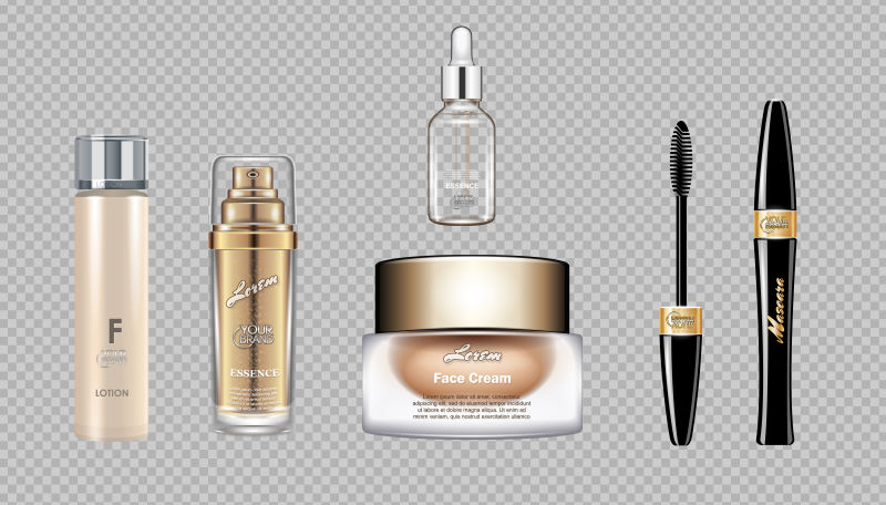 数码矢量眼霜、睫毛膏、睫毛膏、化妆盒、化妆盒、模型集、霜、玻璃乳液容器。透明闪亮模板,逼真的3D风格