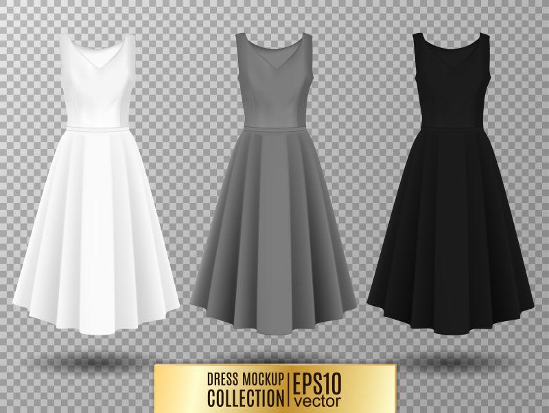 创意矢量现代素色礼服插图设计