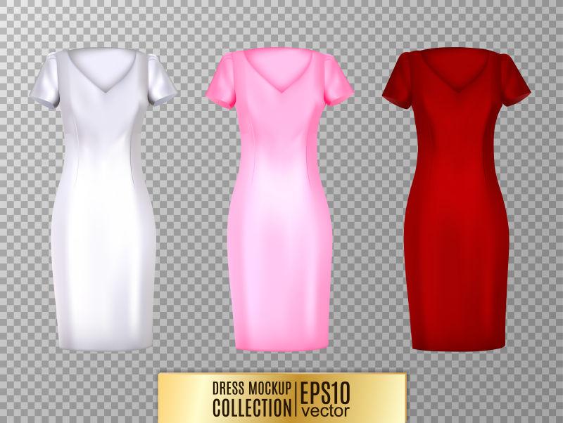 抽象矢量现代彩色女装插图设计