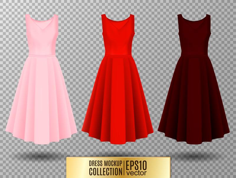 抽象矢量漂亮的无袖长裙插图设计