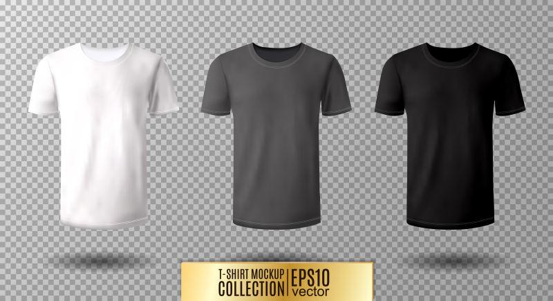 创意矢量现代素色T恤设计插图