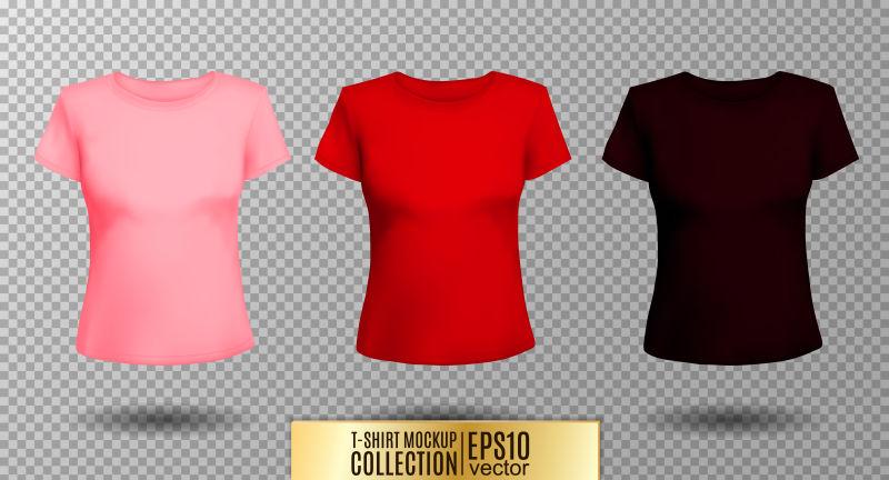 创意矢量现代彩色女士T恤插图设计