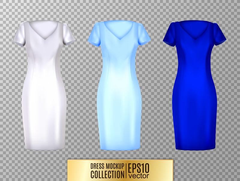 创意矢量现代女士长裙插图设计