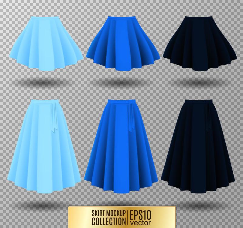 创意矢量现代彩色百褶裙插图设计