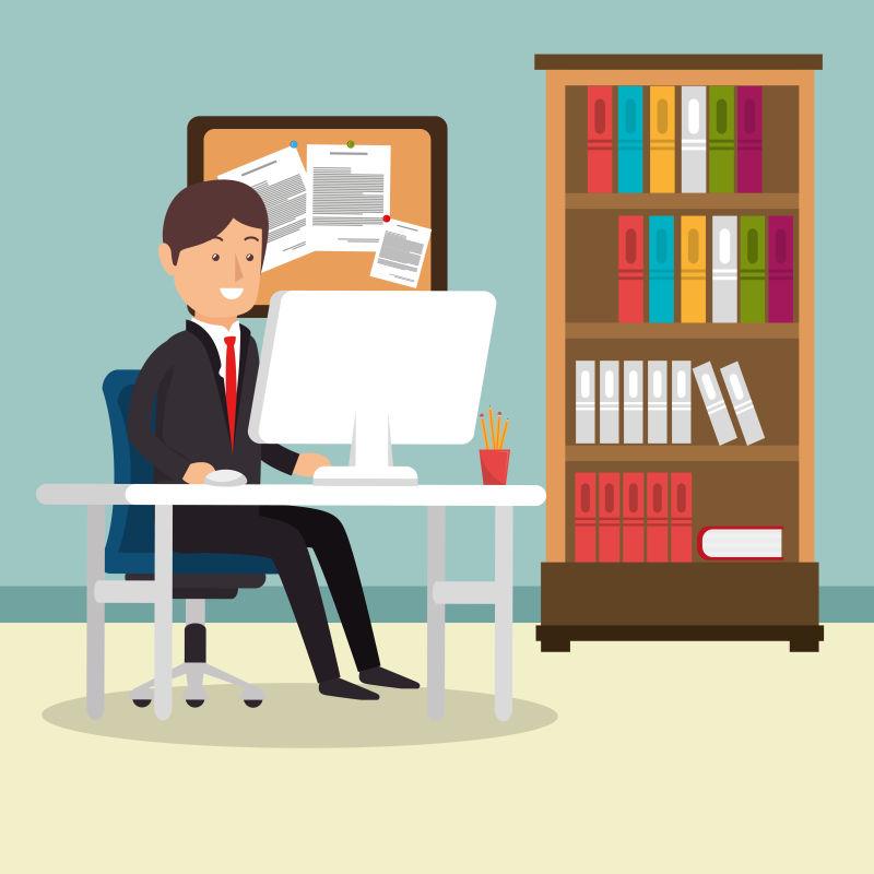 创意矢量现代在办公室工作的商人插图设计