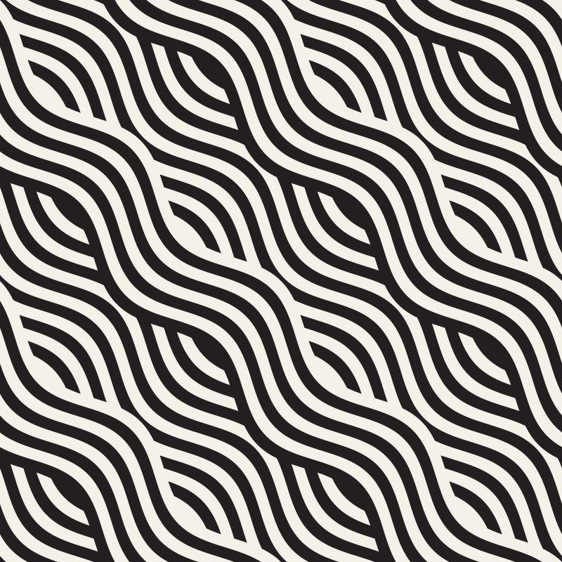 创意矢量黑色波浪线性装饰背景设计