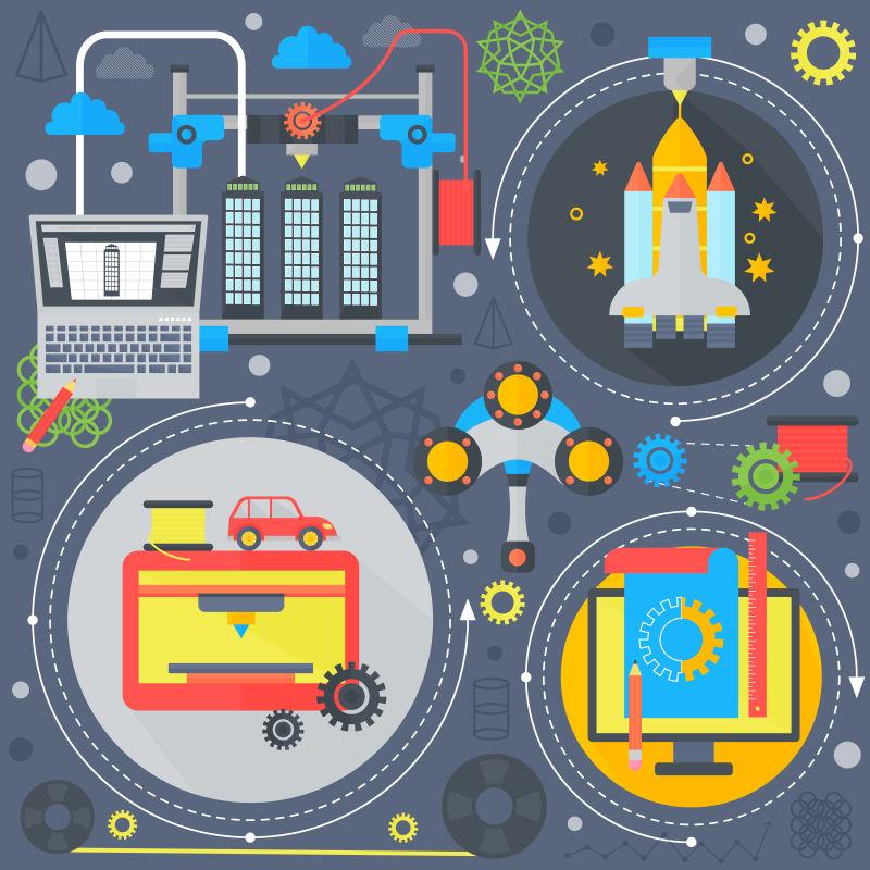 3D技术平面概念Galaxy 3D打印和3D扫描平面图标信息图形设计网页元素,海报横幅。矢量插图。