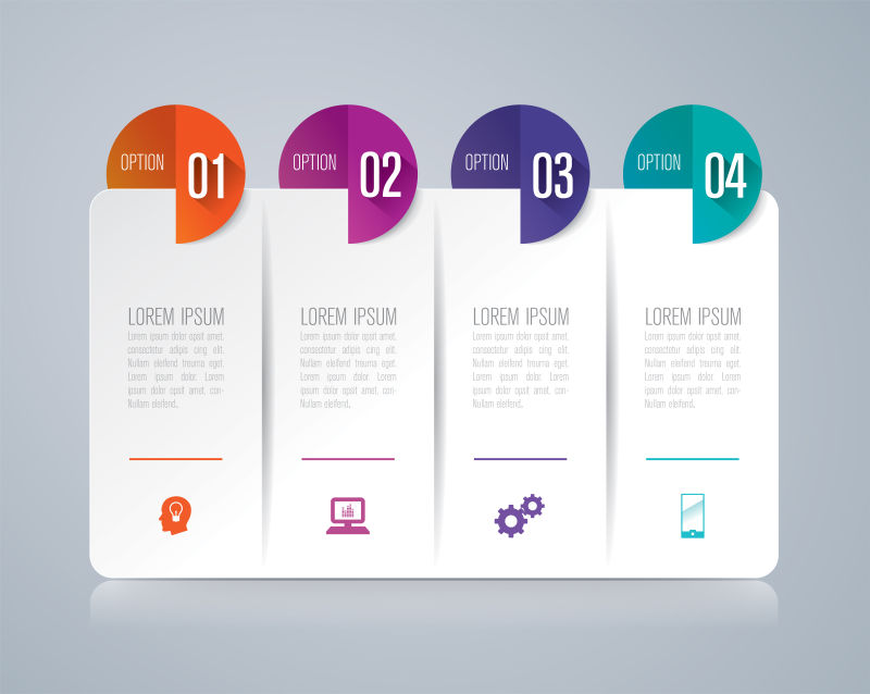 矢量现代抽象彩色信息图表平面设计