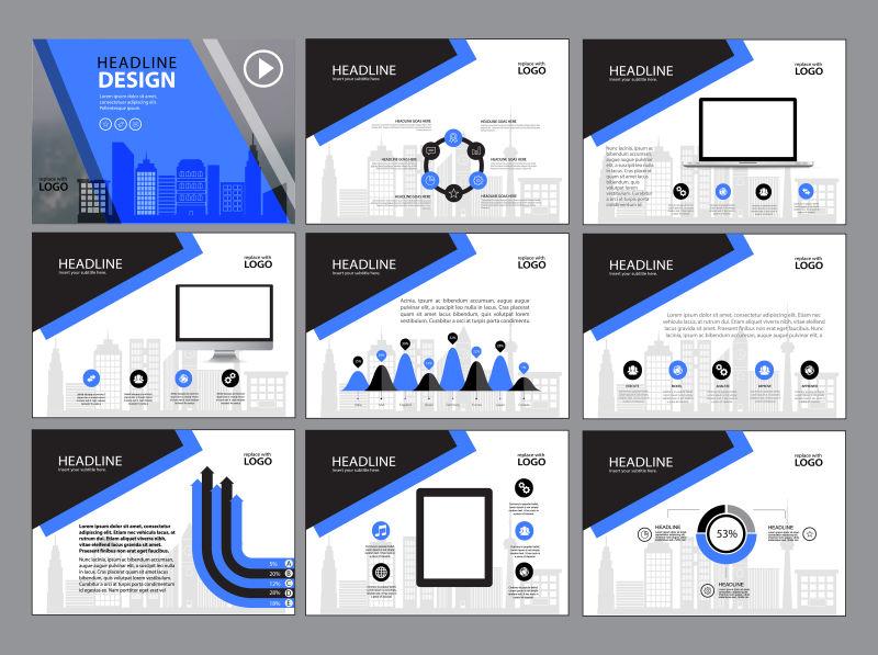 创意矢量现代蓝黑色时尚宣传册平面设计