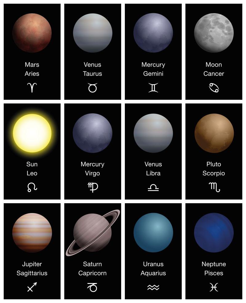 创意矢量现代太阳系行星设计元素插图