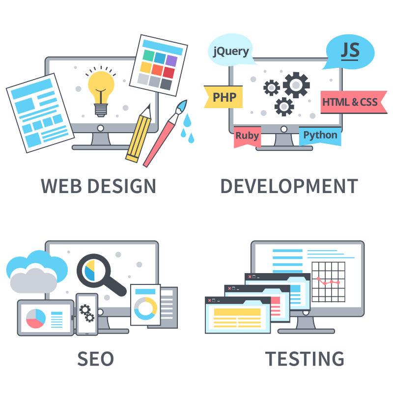 抽象矢量网站开发主题的插图设计