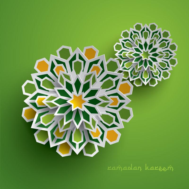 创意矢量伊斯兰主题的纸质装饰设计插图