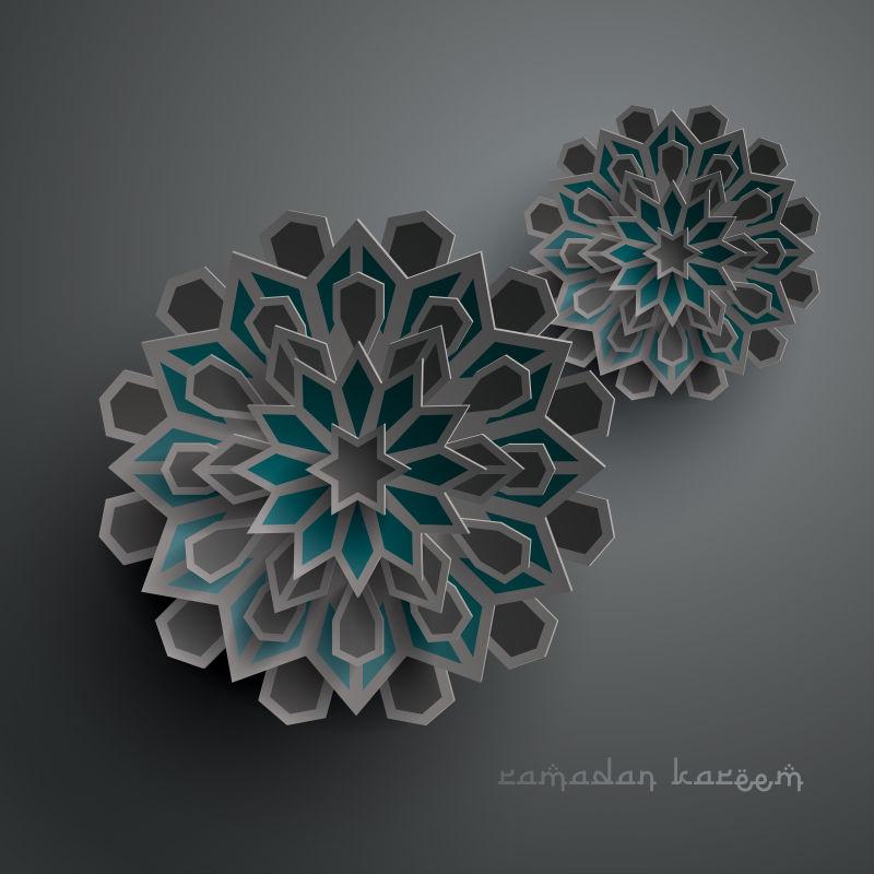 抽象矢量现代伊斯兰主题的纸质插图设计