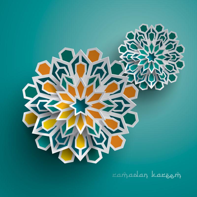 抽象矢量彩色纸质花卉装饰设计背景