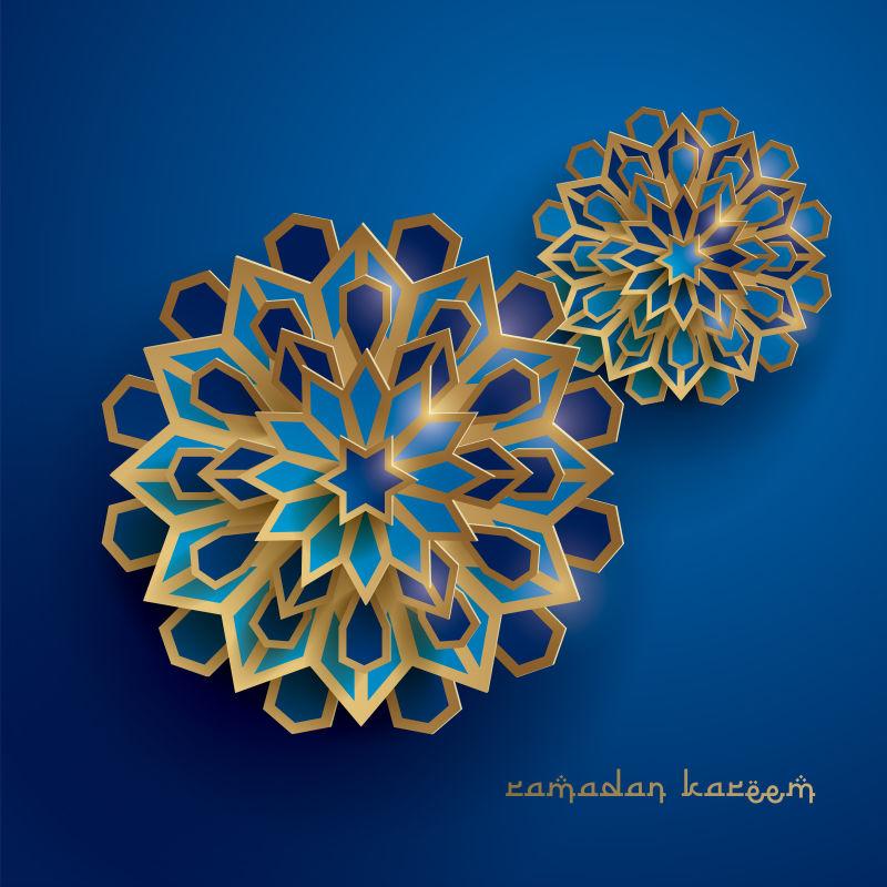 抽象矢量现代蓝色金色伊斯兰装饰插图设计