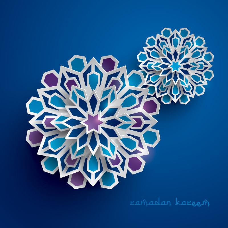 抽象矢量现代伊斯兰主题的纸质装饰花纹