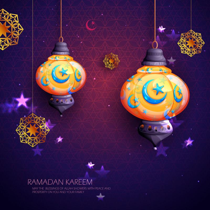 创意矢量现代斋月主题平面庆祝背景设计