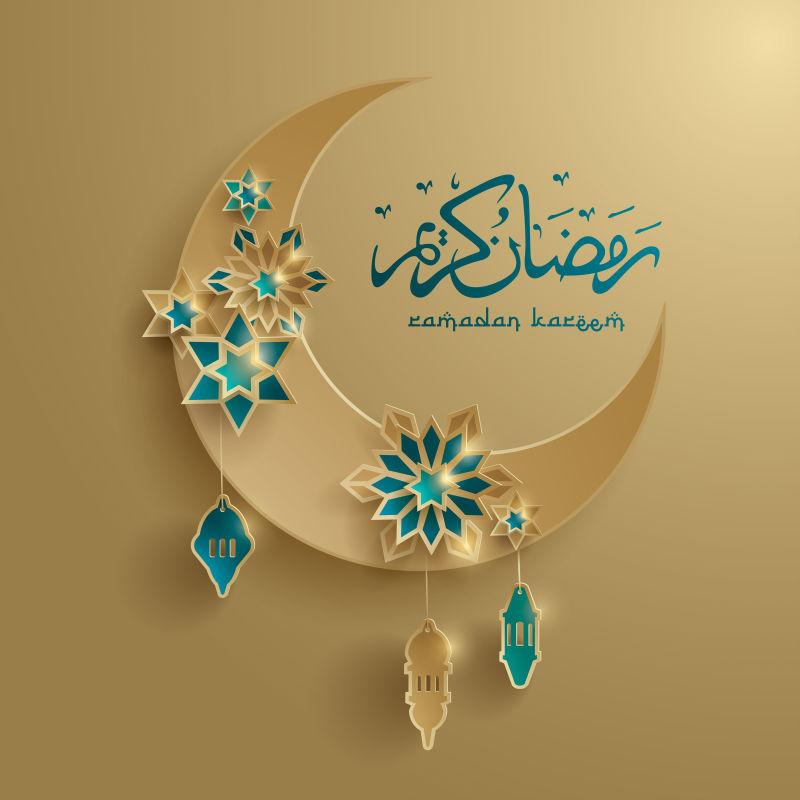 矢量现代伊斯兰斋月主题的创意背景设计