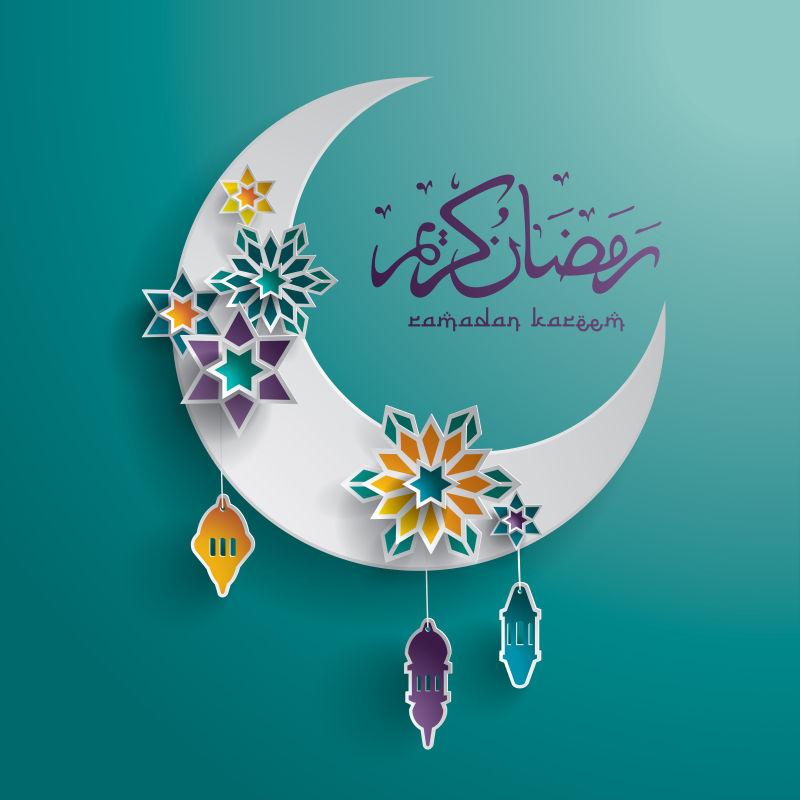 抽象矢量装饰风格的伊斯兰斋月贺卡设计