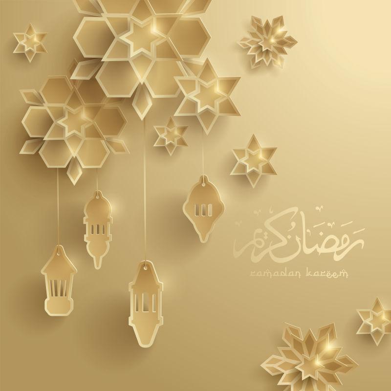 抽象矢量金色伊斯兰斋月主题贺卡设计