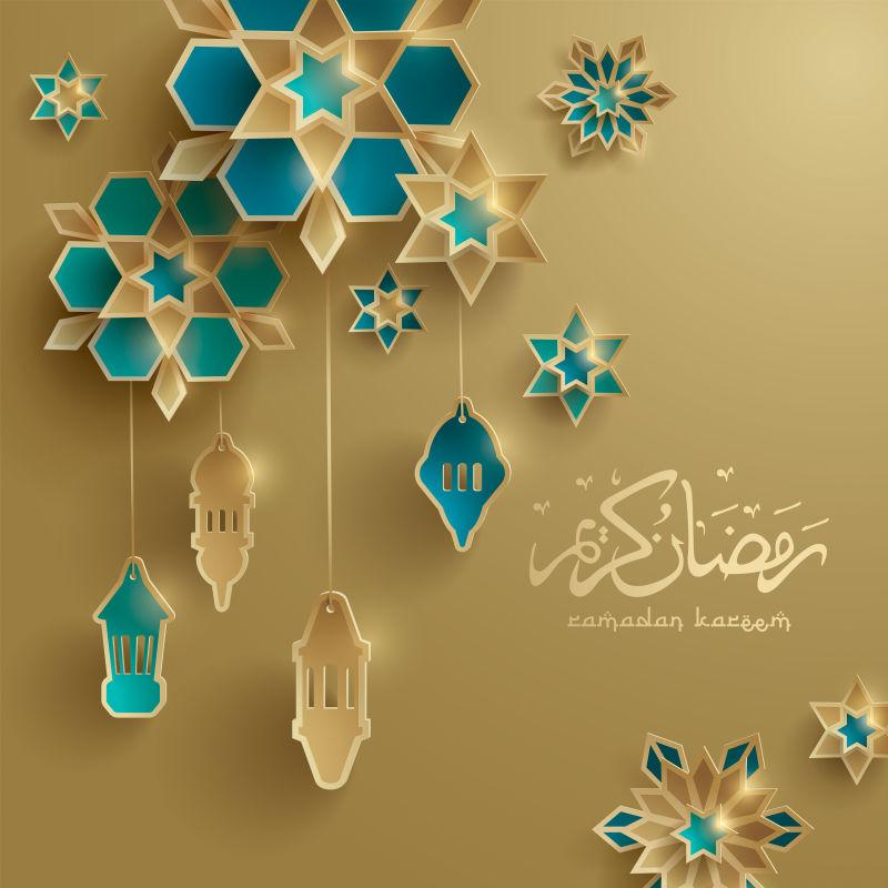 矢量抽象现代伊斯兰斋月主题庆祝背景设计