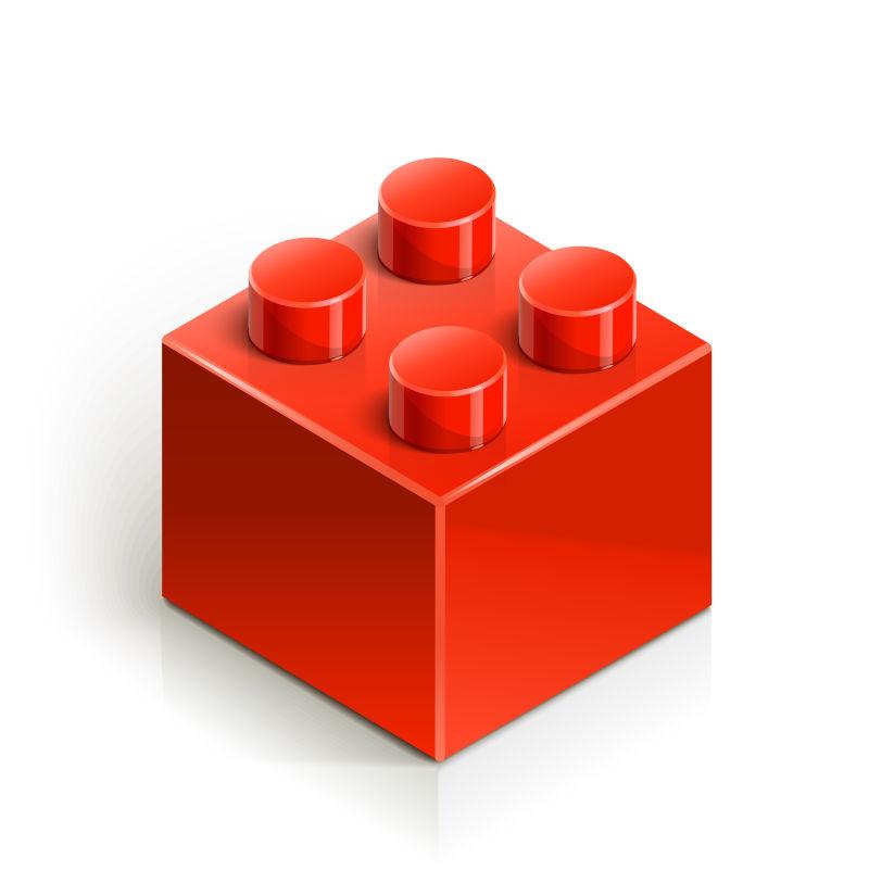 抽象矢量红色积木设计