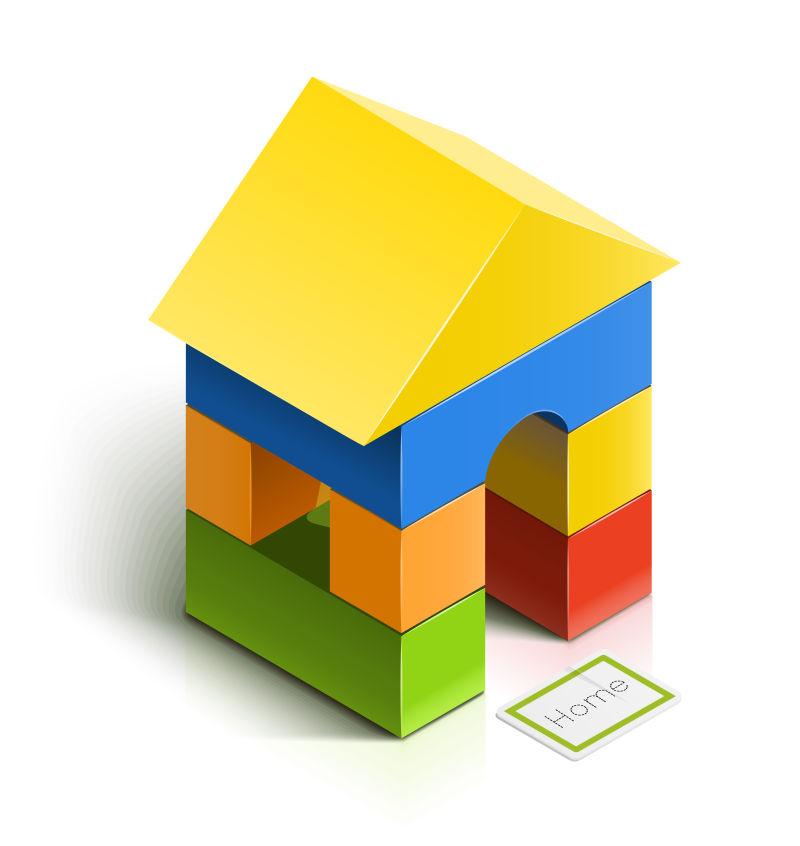 抽象矢量现代木制积木玩具设计