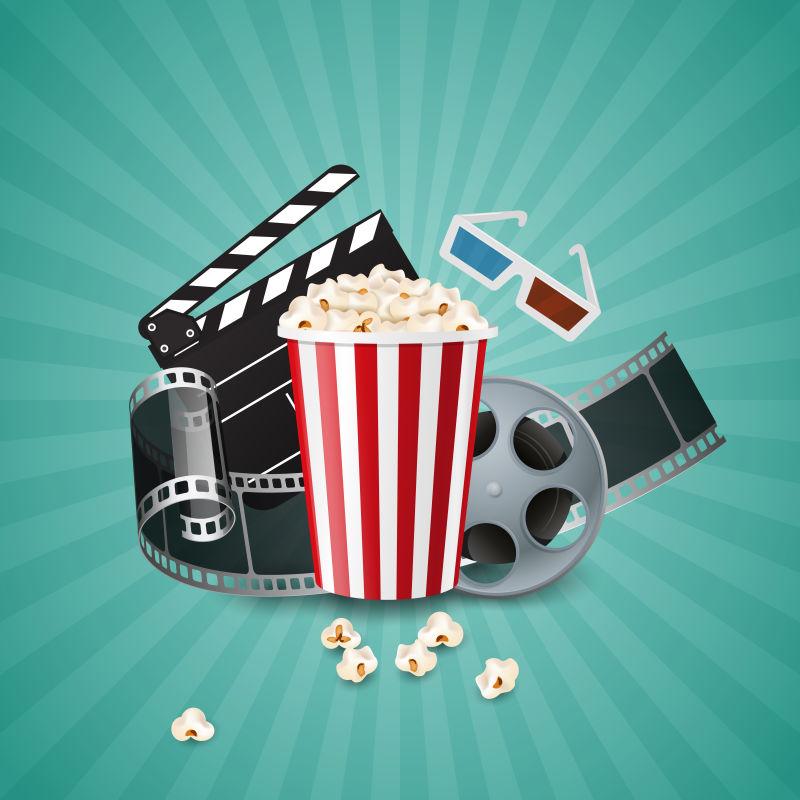 电影概念海报与爆米花碗,电影和隔板。写实矢量插图。