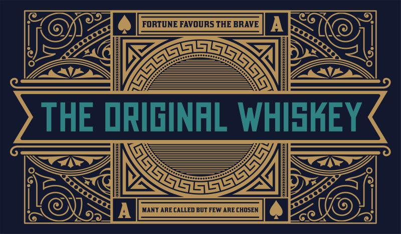 威士忌标签老式标志西方