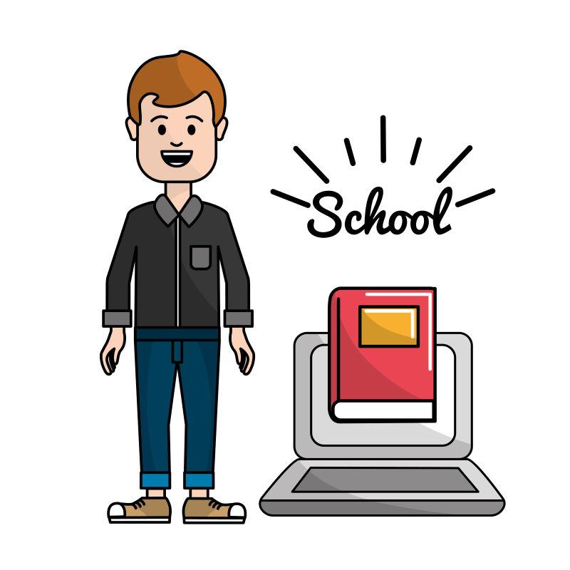 带笔记本电脑的老师学习知识