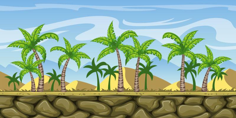 矢量矢量热带景观卡通插图设计