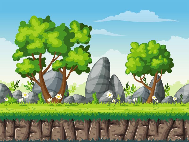 创意矢量现代有巨石元素的卡通自然风景插图