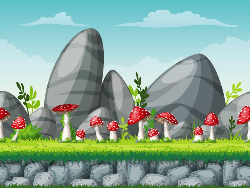 创意矢量现代自然景观卡通插图设计